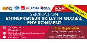 "SEMINAR ON ENTREPRENEUR SKILLS IN GLOBAL ENVIRONMENT (APRIL 27, THUR)<br>""企业家在全球商业环境中需具备的技能""座谈会"