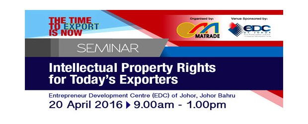 "SEMINAR ON INTELLECTUAL PROPERTY RIGHTS FOR TODAY'S EXPORTERS (APR 20, WED)<br>""出口商须知的知识产权""讲座会"